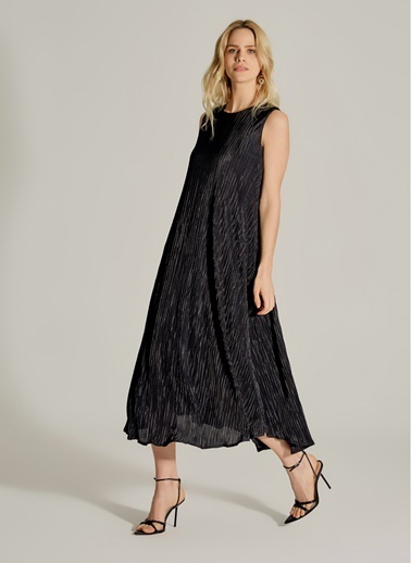 NGSTYLE Pliseli Elbise Siyah